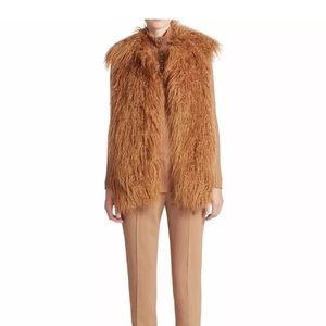 Stella McCartney faux tan Mongolian fur vest Small